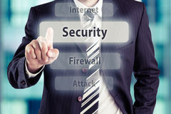 Security. Businessman pressing Security button. Online security concept, toned photo stock photography