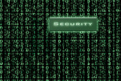 Security button on a binary background stock photo
