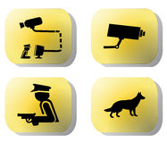Security buttons. Guard dogs, cctv camera, and armed guard illustration royalty free illustration