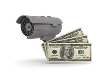 Security cam and dollars. Isolated on white Stock Image