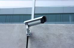 Security cam protect private property. Protection with security camera of private property Royalty Free Stock Photo