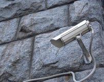 Security cam on stone blocks wall closeup Stock Photography