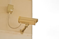 Security camera. CCTV security camera at home and blue sky stock image