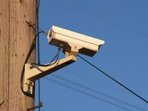 Security camera. Mounted on a utility pole Royalty Free Stock Photos
