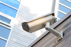 Security camera. A photo of a security camera on the wall Royalty Free Stock Photo