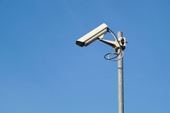 Security camera. Background with blue sky royalty free stock photo