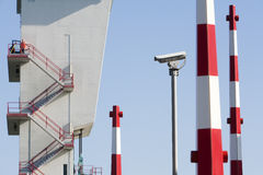 Security camera. Barriers and a worker (out of focus) on top of the tower of the storm surge barrier in Krimpen aan den IJssel, the Netherlands The storm surge royalty free stock images