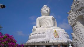 Security camera at the Big Buddha statue complex on Phuket island. Historical monuments protection concept stock video