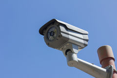 Security camera on blue sky background Stock Images