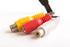Security camera Cable. Close-up on female camera T.V cable Royalty Free Stock Photo