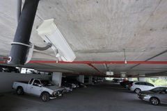 Security camera in car parking Royalty Free Stock Photo