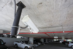 Security camera in car parking Royalty Free Stock Photos