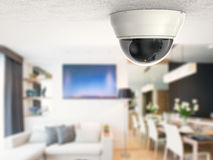 Security camera or cctv camera on ceiling. 3d rendering security camera or cctv camera on ceiling Royalty Free Stock Photos