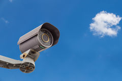 Security Camera CCTV With Cloud and Sky Stock Image
