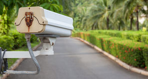 Security camera, CCTV in garden. Security camera, CCTV hangs in garden for surveillance Royalty Free Stock Photo