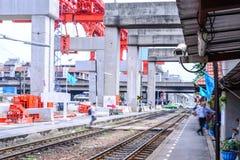 Security camera cctv monitoring railway station Stock Photos