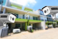 Security camera or CCTV private house on the background. Royalty Free Stock Image