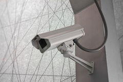 Security Camera CCTV on staircase abstract line background Stock Photo