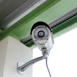 Security camera cctv under roof in factory Stock Photography