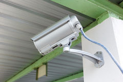 Security camera cctv under roof in factory Stock Image