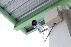 Security camera cctv under roof in factory Royalty Free Stock Photography