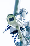 Security camera or CCTV on white background. CCTV cameras are installed to prevent theft and crime. Also to prevent damage to property of the people Stock Images