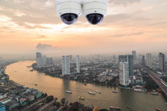 Security camera ceiling type monitoring. Security cameras ceiling type monitoring Stock Photos