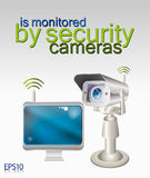 Security camera and computer Royalty Free Stock Photos