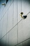 Security camera on dark building background Royalty Free Stock Photo