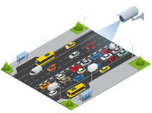 Security camera detects the movement of traffic. CCTV security camera on isometric illustration of traffic jam with rush. Hour. Traffic 3d isometric vector royalty free illustration