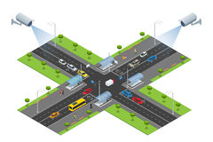 Security camera detects the movement of traffic. CCTV security camera on isometric of traffic jam with rush hour Royalty Free Stock Images