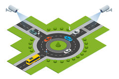 Security camera detects the movement of traffic. CCTV security camera on isometric of traffic jam with rush hour Royalty Free Stock Image