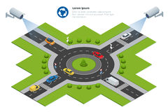 Security camera detects the movement of traffic. CCTV security camera on isometric of traffic jam with rush hour. Security camera detects the movement of traffic Royalty Free Stock Photo