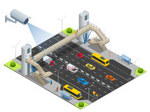Security camera detects the movement of traffic. CCTV security camera on isometric of traffic jam with rush hour Stock Images