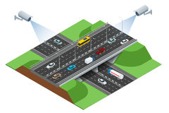 Security camera detects the movement of traffic. CCTV security camera on isometric of traffic jam with rush hour Stock Photography