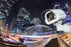 Security camera detects the movement of traffic. Skyscraper roof Stock Photo
