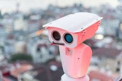 Security camera detects the movement of traffic and terrorist threat. The concept of security and the prevention of Royalty Free Stock Image