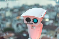 Security camera detects the movement of traffic and terrorist threat. The concept of security and the prevention of Royalty Free Stock Photo