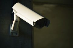 Security camera in heavily guarded industrial area Royalty Free Stock Photography