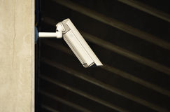 Security camera in heavily guarded industrial area Royalty Free Stock Image