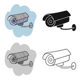 Security camera icon in cartoon style isolated on white background. Supermarket symbol stock vector illustration. Royalty Free Stock Photos