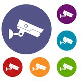 Security camera icons set. In flat circle red, blue and green color for web Stock Images