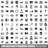 100 security camera icons set, simple style. 100 security camera icons set in simple style for any design vector illustration Royalty Free Stock Photo