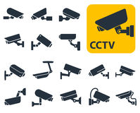 Security camera icons, video surveillance Royalty Free Stock Images