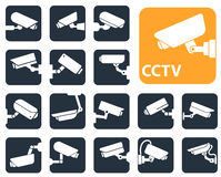 Security camera icons, video surveillance Royalty Free Stock Photography