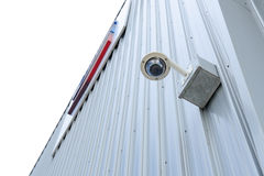Security camera is install corner outside of building Royalty Free Stock Photo