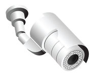 Security camera isolated on white Royalty Free Stock Photo