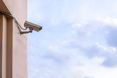 Security camera for monitor events in city.  Royalty Free Stock Image