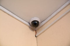 Security camera monitor in office building. Spherical CCTV under ceiling Stock Photography