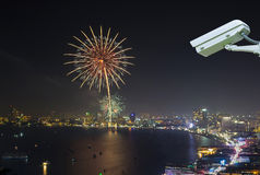 Security camera monitoring the multicolor fireworks night scene Royalty Free Stock Images